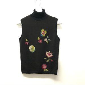 Moschino Vintage Wool Sleeveless Wool Turtleneck Flower Print